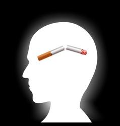 broken cigarette inside human head vector image