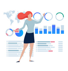 Business women explain present statistics chart vector