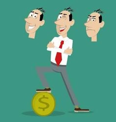 Businessman standing on coin vector