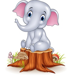 Cartoon funny baby elephant sitting on tree stump vector