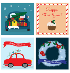 christmas collection with four cards eps vector image