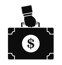 corruption money suitcase icon simple style vector image