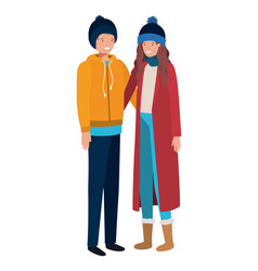 couple with winter clothes avatar character vector image