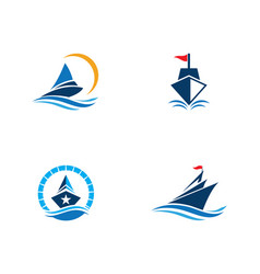 cruise ship logo template icon vector image