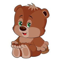 cute brown bear character toy cartoon isolated vector image