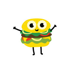 cute flat burger character isolated icon vector image