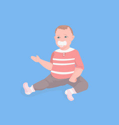 Cute little toddler boy sitting with pacifier vector