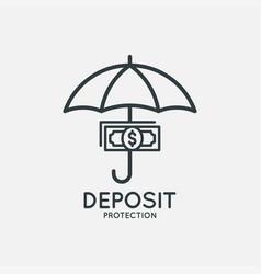 Deposit protection logo umbrella with money icon vector