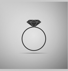diamond engagement ring icon on grey background vector image