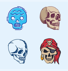 Different style skulls faces halloween horror vector