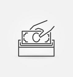 Donate money line icon donation box symbol vector