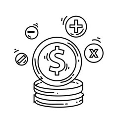 e-commerce cost icon hand drawn icon set outline vector image