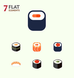 Flat icon maki set of maki salmon rolls seafood vector