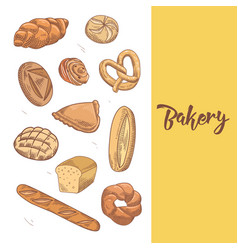 fresh bread hand drawn bakery design with buns vector image