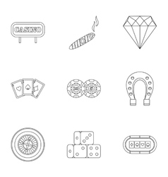 Gambling icons set outline style vector
