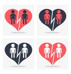 Gay couple with broken heart vector