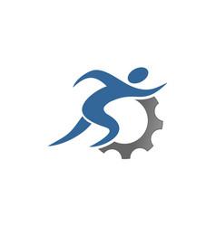 Gear run logo design vector