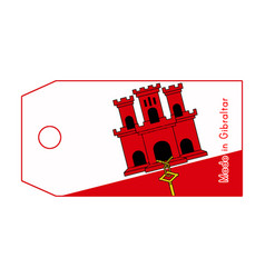 Gibraltar flag on price tag with word made in vector
