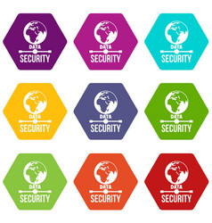 global data security icons set 9 vector image