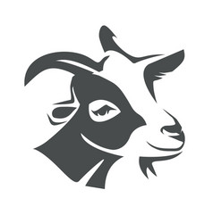 goat head portrait stylized logo template vector image