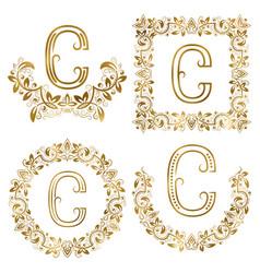 Golden c letter ornamental monograms set heraldic vector