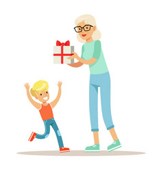 Grandmother giving present to boy part of vector