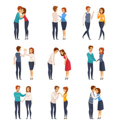 Greeting handshake set vector