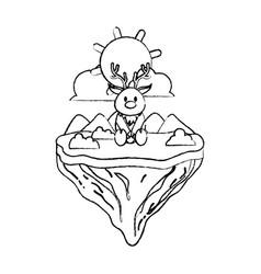 grunge male deer animal in float island vector image