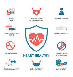 Healthy heart concept with icons healthy heart vector