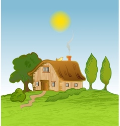 House background with trees vector