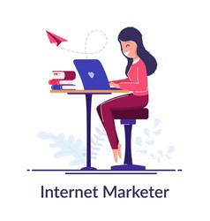 internet marketer concept work via internet vector image