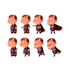 Kid dressed in superhero costume vector