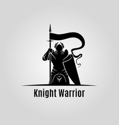 Knight with shield and spear silhouette vector