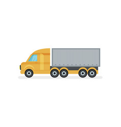 large truck with metal container side view heavy vector image