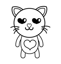 line enamored cat cute feline animal vector image
