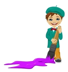 Little boy painting floor with a big paintbrush vector