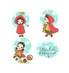 Little red riding hood fairy tale little cute vector