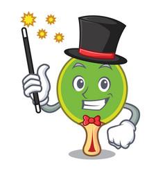 Magician ping pong racket mascot cartoon vector