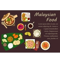 Malaysian cuisine dishes and desserts vector