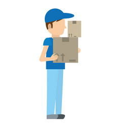 Man delivery boxes work vector