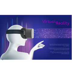 man wearing vr headset virtual reality concept vector image