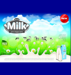 milk ads cows on green field farm background vector image