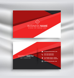 Modern red and black business card wit minimal vector