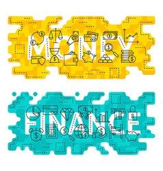 Money Finance Outline Flat Concept vector image