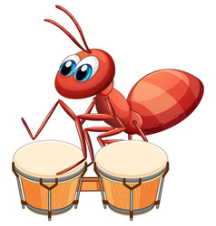 Musician ant playing drum vector