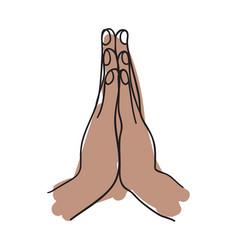Namaste gesture hand drawn icon vector