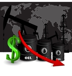 Oil barrel with red arrow vector