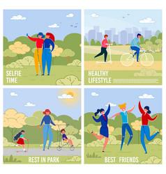 outdoor activities and recreations banners set vector image