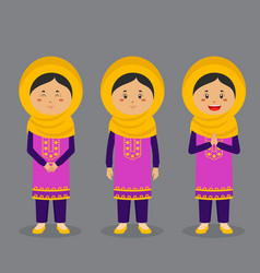 Pakistan character with various expression vector