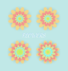 paper colored flowers set vector image